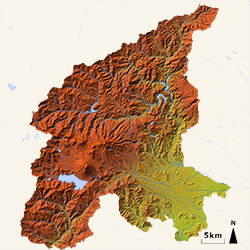 3D Map of Hakone (by full color, colored by elevation)